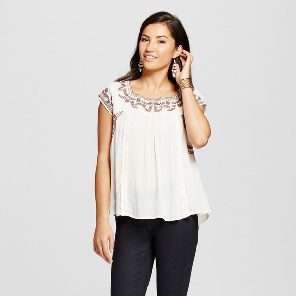 498fac7fbacdc8 Knox Rose Tops - Knox Rose Women's Lace Back Embroidered Top Ivory
